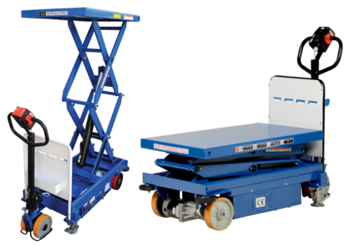 Powered Drive and Powered Lift Hydraulic Scissor Carts